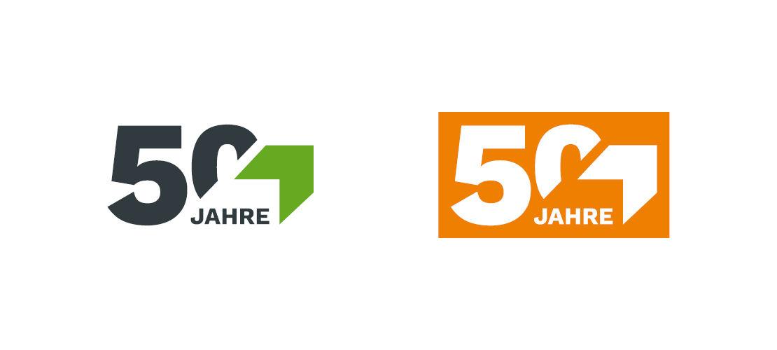 Jubiläumslogo: 50 Jahre Bergmann Maschinen für die Abfallwirtschaft