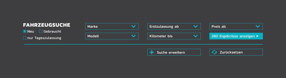 Fahrzeugsuche auf der Autohaus Rakel-Website
